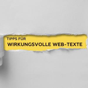 """Bildliche Darstellung des Titels """"Tipps für wirkungsvolle Web-Texte"""""""