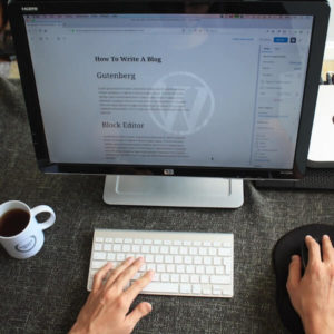 Bildschirm-Ansicht mit dem WordPress Gutenberg Editor