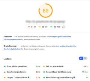 Gutenberg Editor mit Plugins - Pagespeed Test