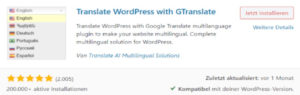 Übersetzung Plugin WordPress