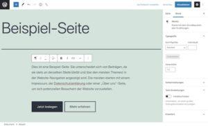 Screenshot Gutenberg Editor WordPress
