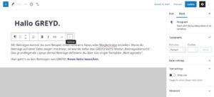 WordPress Gutenberg Backend für Blogs