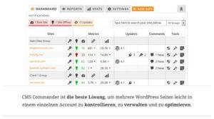 Mit CMS Commander mehrere WordPress Seiten verwalten.